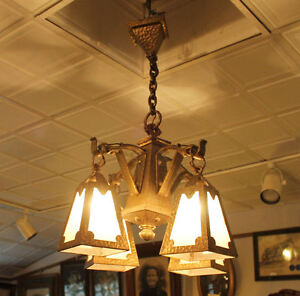 Arts Crafts Mission Hand Hammered Hanging Slag Light Glass Chandelier Fixture
