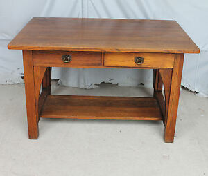 Antique Mission Oak Library Table Or Desk Limbert Arts Crafts