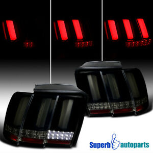 For 1999 2004 Ford Mustang Sequential Led Tail Lights Lamps Glossy Black Smoke