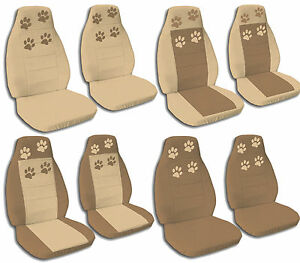 Front Rear Brown Tan Paw Print Jeep Wrangler Seat Covers 1987 2001