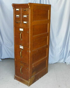 Antique Oak File Filing Cabinet Globe Company Panel Sides