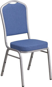 Lot Of 40 Hercules Series Crown Back Stacking Banquet Chair With Blue Fabric