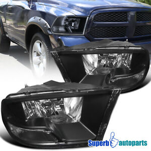 For 2009 2018 Dodge Ram 1500 2500 3500 Headlight Head Lamps Black