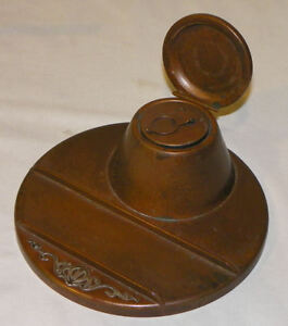 Heintz Sterling On Bronze Antique Ink Well And Pen Holder