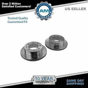 Nakamoto Brake Rotor Performance Drilled Slotted Rear Pair Set For Chevy Gmc New