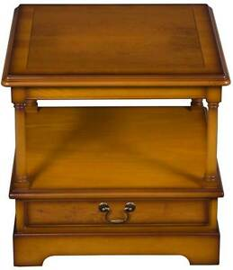 Antique Style Yew Wood End Table Side Lamp With Drawer On Wheels Two Tier
