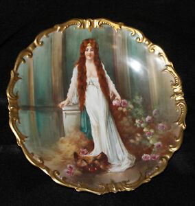 Antique Limoges Portrait Charger Plate Beauty And The Beast Design