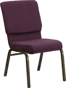 Lot Of 50 18 5 Wide Plum Fabric Stacking Church Chair Gold Vein Frame