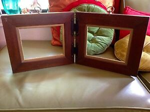Vtg Double Arts Crafts Wood Mission Wooden Picture Frame With Loop