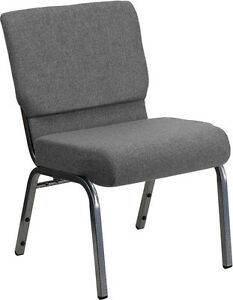 Lot Of 50 21 Extra Wide Gray Stacking Church Chair Silver Vein Frame