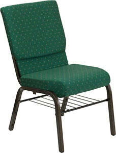 Lot Of 50 18 5 w Green Patterned Fabric Church Chair Book Rack