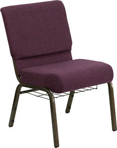 Lot Of 50 21 Extra Wide Plum Fabric Church Chair Communion Cup Book Rack