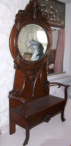 Large Antique Oval Mirror Oak Hall Tree With Lift Up Storage Seat
