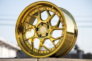 19x9 5 10 5 Aodhan 5x114 3 Ds01 22 Gold Vaccum Rims Fits Mustang 350z 370z