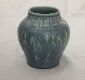 Antique Rookwood Blue Vase Flowers