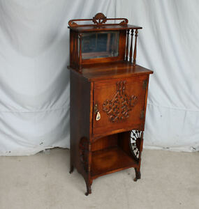 Antique Victorian Oak Music Sheet Storage Cabinet Stick And Ball Fancy