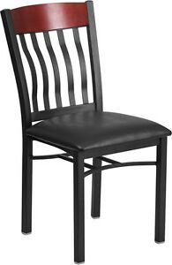 Eclipse Series Vertical Back Black Metal And Mahogany Wood Restaurant Chair