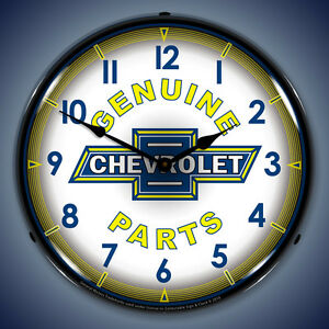 Chevy Parts Vintage Wall Clock Lighted