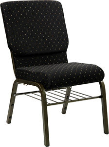 Lot Of 100 18 5 w Black Dot Patterned Fabric Church Chair Book Rack