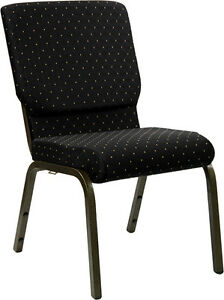 Lot Of 100 18 5 w Black Dot Patterned Fabric Stacking Church Chair