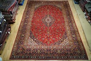 Kashan Designed Medallion Rug Handmade 10x14 Superior Quality Signed Persian