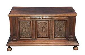 Antique Georgian Period English Carved Oak Coffer Trunk W Free Shipping