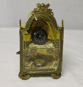 Antique French Art Glass Spatter Ware Double Watch Holder