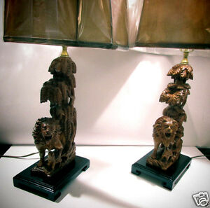 Pair Carved Wood Lion Table Lamps With Shades