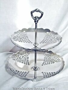 Vintage Sheffield Silver Plate Dessert Two Tier Stand Made In Usa