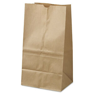 25 Squat Paper Bag 40 lb Base Brown Kraft 8 1 4x6 1 8x15 7 8