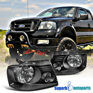 2004 2008 Ford F150 Euro Style Headlights Black Pair W Clear Reflector