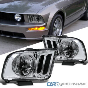 For 05 09 Ford Mustang Gt Clear Headlights Driving Head Lights Lamps Left Right