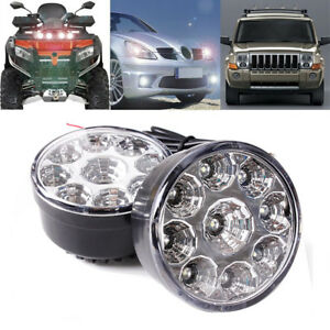 Pair White 12v 9 Led Round Daytime Running Light Drl Car Fog Day Driving Lamp