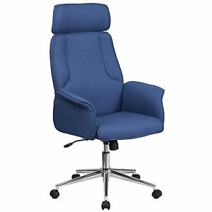 High Back Blue Fabric Executive Swivel Home Office Chair With Chrome Base