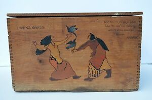 Primitive Hand Painted Indian Scenery W Poems Antique Wood Box Crate Folk Art