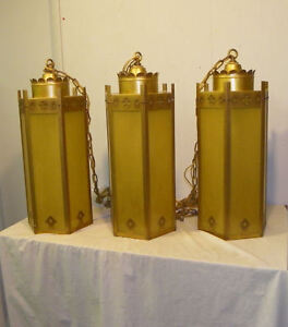 Three Antique Hanging Arts Crafts Style Mission Light Fixtures Brass