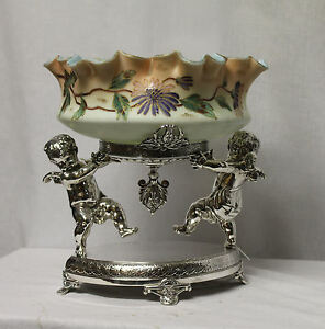 Antique Brides Basket With Large Cherub Base Fancy Art Glass