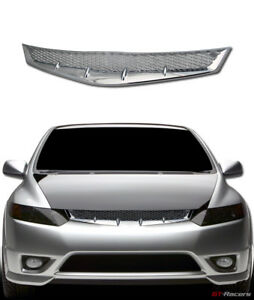 For 2006 2008 Honda Civic Coupe Jdm R Chrome Mesh Front Bumper Grill Grille Abs