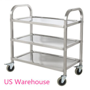 3 Tier Stainless Steel Kitchen Restaurant Utility Cart Rolling Serving Catering