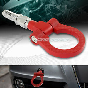 For Bmw Red Cnc Carbon Look Style Aluminum Jdm Front Rear Racing Towing Hook
