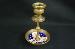 Nice Vintage Antique Brass And Enamel Candleholder 5 Y7 W7 A8