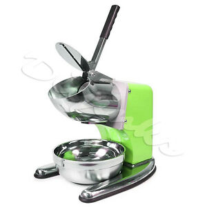 Green Commercial Dual Blade 143lb h Ice Shaver Crusher Shaved Icee Maker Machine