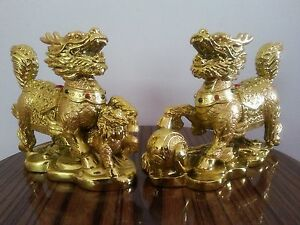 1pair Chinese Feng Shui Dragon Statue Lucky Wealth Figurine Gift