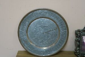 Vintage Etched Copper Islamic Persian Persepolis Plate Engraved 11 5