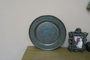 Vintage Etched Copper Islamic Persian Persepolis Plate Engraved 11 5 Eagle