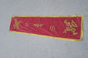 Antique Velvet Metallic Hand Embroidered Panel Table Runner Dresser Scarf