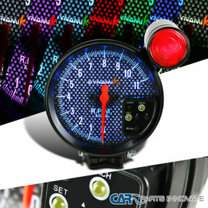 5 Adjustable Tachometer Gauge 11k Rpm Shift Light Black Carbon 7 Color Led