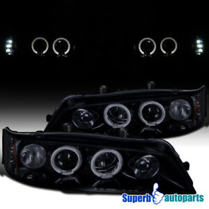 For 1994 1997 Honda Accord Led Halo Smoked Projector Headlights Glossy Black