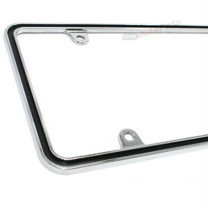 Custom Metal Chrome With Black Thin License Plate Tag Frame For Auto Car Truck