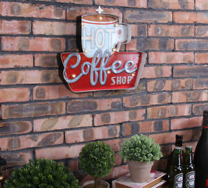 Vintage Led Light Metal Bar Sign Hot Coffee Shop Hand painted Cafe Wall Decor